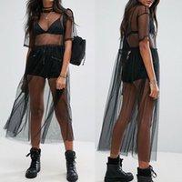 mulheres negras sheer biquínis venda por atacado-Mulheres Sexy Bikini Cover-up See-through Malha Gaze Midi Vestido Preto Sheer Maxi Tulle Beachwear Swimwear