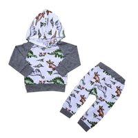 кофты динозавров оптовых-Дети толстовка костюм ребенка с капюшоном наборы Юрского динозавра печати с длинным рукавом брюки мальчик девочка из двух частей костюм 32