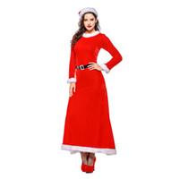9bcfd092f Corzzet de terciopelo rojo manga larga vestido de navidad traje de navidad  de las mujeres para adultos sexy traje de cosplay de santa claus