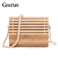 Wholesale new handmade clutches resale online - New Fashion Women Handmade Woven Bamboo Handbags Wood Beaded Chains Women Shoulder Bag Summer Beach Bags Casual Clutch Purses