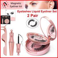 Wholesale fake lashes glue for sale - Group buy Magnetic Liquid Eyeliner D Magnetic Eyelashes Tweezers Set Eye Makeup Pair Reusable False Eyelash No Glue Needed fake lashes with Mirror