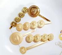 gold 14k porzellan preis groihandel-Direkt ab werk preis für frauen Vintage Barock Medusa haarnadeln gold münzkopf Haarspangen haarschmuck für dame