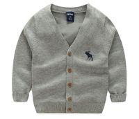 chaquetas infantiles de punto al por mayor-Suéteres de punto Cardigan para niños Otoño Cálido Ropa de la escuela de los niños Chaquetas de los niños del bebé Abrigos ocasionales 5 colores 2-7 años