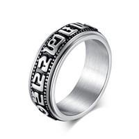 pênis jóia de aço inoxidável venda por atacado-JZ170 Aço Inoxidável Do Vintage Anéis de Pênis de Jóias Por Atacado Mantra Meditação Spinner Anel Para Homens