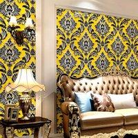 pared de papel dormitorio oro al por mayor-Clásico papel pintado del damasco del oro 3D con textura de lujo Habitación Sala Decoración impermeable de vinilo de PVC de pared del rollo de papel