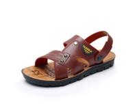 sandalias de trapeador al por mayor-Verano fresco mop cuero artesanía sandalias de los hombres fondo suave sandalias de playa de doble uso de los hombres de gran tamaño sandalias