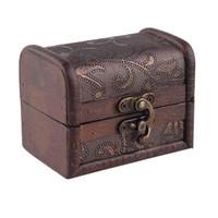manuel kilitleme toptan satış-Ahşap hediye kutusu Vintage Metal Kilit Takı Hazine Göğüs Vaka Manuel Inci Kolye Bilezik Depolama Organizatör