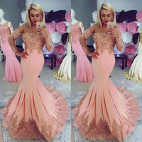 Wholesale burgundy evening dress long sleeves for sale - Group buy Elegant Peach Mermaid Prom Dresses with Capped Long Sleeves Lace Appliques Beading See Through Neck Formal Wear Evening Dress
