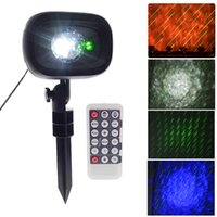 Wholesale water wave lamp resale online - Meteor Shower Rain Christmas Light Outdooor Wedding Xmas Laser Projector Lamp RGBW Water Wave Ripple Disco Stage Light