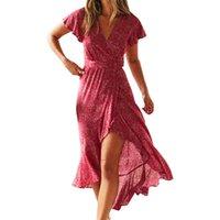 tatil elbiseleri toptan satış-Kimono Wrap Kadınlar Plaj Yaz Küçük Nokta Elbise Sashes Fırfır Orta Buzağı Seksi V Yaka Retro Sundress Parti Boho Tatil Elbise M0128