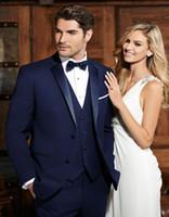 Wholesale best winter wedding dresses resale online - New Popular navy blue best man groom wedding dress Excellent Men Business Activity Suit Party Prom Suit jacket pants vest tie NO