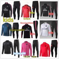 çocuklar koşu toptan satış-Yeni çocuk Paris eşofman 2018-2019 psg futbol jogging ceket MBAPPE NEYMAR JR POGBA 18/19 Paris çocuk Futbol Eğitimi suit