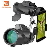 zoom lensler gece görüş toptan satış-Uiversal Gece görüş 40x60 zoom Cep Telefonu lens Monoküler Kapsam Su Geçirmez Monokülerler Teleskop ile Telefon Klip ve Tripod