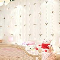 wandpapiere mädchen großhandel-Prägnante Vliestapete der britischen Flagge Junge Mädchen Schlafzimmer Gästehaus Hintergrund Wand vertikale Streifen niedlichen Cartoon Tapeten