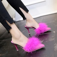 туфли на высоких каблуках оптовых-Sexy Pointed toe slides real fur slippers closed toe thin high heels loafers ostrich feather sandals brand women outside shoes