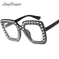 quadro preto de grandes dimensões de suas lentes claras venda por atacado-LongKeeper extragrandes Rhinestone óculos de armação Mulher Big quadrado preto óculos moldura Moda Luxo Limpar Lens Ladies 2018 Novo