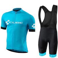 neuer würfel radfahren großhandel-Triathlon Pro Team Cube Herren neue Radtrikot Sommer Kurzarm Trägerhose Sets Fahrradbekleidung Fahrradbekleidung Ropa Ciclismo Hombre