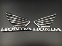 özel çıkartma çıkartmaları toptan satış-Motosiklet 3D Krom ABS Yakıt Tankı Amblem 3 M Decal Sticker Özel Honda Wing Için