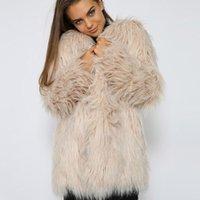 abrigo de color caqui al por mayor-Mullido Largo Abrigo de piel sintética de color caqui Invierno de las mujeres Piel Falsa desgaste de la calle rosa moda femenina abrigos de color prendas de vestir exteriores LJLS037