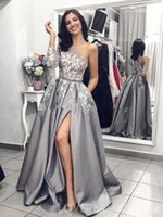 Wholesale special occasion dresses for sale - Grey Silver One Shoulder Long Sleeves Formal Evening Dresses Sexy High Slit Lace Floral Stain Women Special Occasion Prom Gown