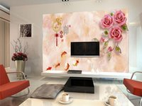 Wholesale chinese fish pictures for sale - Group buy Custom Size D Photo Wallpaper Living Room Mural Rose Fish Chinese Characters d Picture Mural Home Decor Creative Hotel Study Wallpaper D
