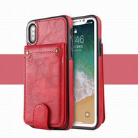 Wholesale horse skin wallet online – custom For iPhone X XS MAX XR Plus Crazy Horse Leather Case X Card Case Card holder skin protection case