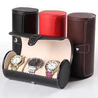 armband rolltasche großhandel-Mode Luxus Uhr Display Geschenkbox Fall Rolle 3 Slot Armbanduhr Halskette Armband Schmuck Pu-leder Aufbewahrungsbox Reisetasche
