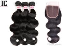 peru saç ürünleri vücut dalgası toptan satış-7A Perulu Bakire Saç Kapatma 3 Demetleri ile Kraliçe Saç Ürünleri Kapatma Demeti ile Insan Saç Örgü Perulu Vücut Dalga Kapatma HC