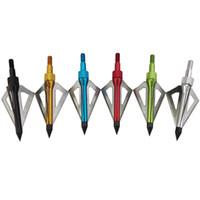 ok bıçakları geniş kafaları toptan satış-Avcılık Okçuluk Broadheads 100 tane 3-Blades Olimpik Makaralı Yay Aksesuarları Açık Spor Hedef Uygulama Ok Başları Ok Aksesuarı