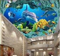 techo de pesca al por mayor-WDBH murales del techo 3d fondo de pantalla personalizado foto Sea World Dolphin cueva Fish Coral sala de decoración para el hogar 3d murales del papel pintado para paredes de 3 d