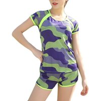 ingrosso swimwear ad angolo-New Hot Student Sports Camouflage Swimwear Split Flat Angle Fashion Explosions Swimsuit Conservative Suit sottile