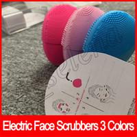 limpador facial sônico venda por atacado-Purificadores de Rosto elétrico limpeza instrumento Escova de Limpeza Facial Sonic Cleansing Face Limpeza Da Pele Silicone À Prova D 'Água 3 cores