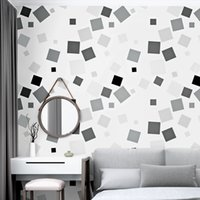 ingrosso carta da parati quadrata 3d-Carta da parati geometrica 3d Nordic Papers Estratto in PVC impermeabile quadrato bianco nero Ins Wallpaper Rotolo per soggiorno Tv sfondo