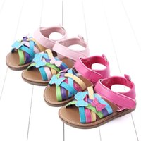Wholesale moccasins baby sandals resale online - Summer baby shoes butterfly rainbow baby girl shoes newborn sandal toddler girl designer shoe Moccasins Soft First Walker sandal A8403