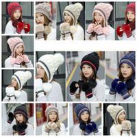 0961d7932fa9c Winter Knitted Hat Gloves sets Rabbit Fur Knit Pom Pom Hat Women Beanies Cap  Thicken Fingerless Mitten Outdoor Hats GGA1436
