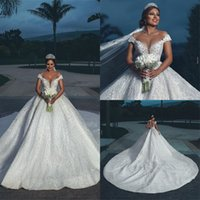 Wholesale luxurious cathedral wedding dresses for sale - Group buy Luxurious Shiny Ball Gown Arabic Wedding Dresses Off Shoulder Sleeveless Plus Size Bridal Dress Backless Cathedral Train Wedding Gown