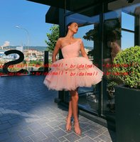 Wholesale spring cocktail dresses resale online - Pleats Tulle Pink Short Prom Dresses Elegant One Shoulder Formal Party Gowns Tiered Layers Mini Little Graduation Dress Cocktail Wear