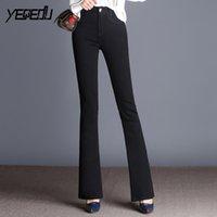 ausgedehnte stretch-jeans-frauen groihandel-# 6602 Schwarz Flare Jeans Frauen mit hohen Taille Stretch-Denim-Jeans Frauen Plus Size Feminino Bell-Bottom Modische Büroarbeit