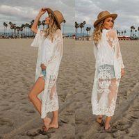sarongs longos venda por atacado-Vestido de praia Mulheres Lace Oco Crochet Swimwear Bikini Manga Longa Cover Up Beach Dress Sarongs Kaftan