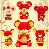 çince peluş oyuncak bebek toptan satış-20 cm / Sıçan Maskot fare Çin Yılı Şeker Çanta Fortune Fare peluş oyuncaklar bayram kutlaması Refah Hediyeler çocuklar oyuncakları LA296 bebekleri 8inches