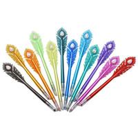 patrones de pluma de gel al por mayor-Bolígrafos de gel - Pluma de tinta coloreada con patrón de pluma de pavo real con punta de diamante, juego de bolígrafos para colorear Fineliner de 12 colores, 0.5 mm fino