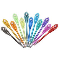 stylos à plumes achat en gros de-Stylos à gel - Stylo à encre gel coloré à motif de plumes de paon avec pointe en diamant, Ensemble de 12 crayons à colorier Fineliner, 0,5 mm Poi