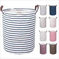 Wholesale designer kid handbag for sale - Group buy Dirty Clothes Basket Foldable Storage Kids Toys Storage Bags Bins Printed Sundry Bucket Canvas Handbags Clothing Organizer Tote DHB490