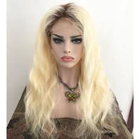 полный парик кружева цвета 613 оптовых-Angelawigs полные парики шнурка объемной волны Ombre Цвет Светлый человеческих волос 1 # 4T # 613 С Natural тертого 130% Плотность отбеленные узлы с волосами младенца