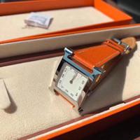 relógios de mulher quartzo de couro venda por atacado-Relógio de luxo H39 luxo das mulheres designer de marca relógios de moda de quartzo mulheres relógio de aço 316L pulseira de couro de marcação quadrada relógios de moda 2019