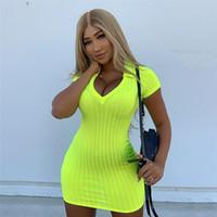 robes jaunes achat en gros de-Néon Jaune Sexy Robes Moulantes À Manches Courtes Col En V Pull En Maille Côtelée Pull 2019 D'été Vêtements Pour Dames