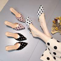 розовая обувь для польки оптовых-2019 женские тапочки сандалии в горошек с остроконечным мыском на молнии с ленивым прохладным высоким странным стилем женская обувь мулы