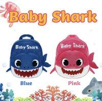 Wholesale wired bags resale online - Baby Unisex Shark Plush Backpack PinkFong School Bag Girl Boy Kids Children School Bags Backpacks Infantil Escolar Mochilas AAA1896