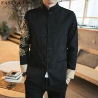 colliers de mandarine achat en gros de-Vêtements traditionnels chinois pour les hommes costume de costume costume brodé veste bombardier dragon col mandarin cheongsam KK501 S