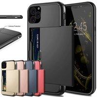 iphone slayt cüzdan toptan satış-Durumda iPhone XI R XI MAX 2019 Durumda Slayt Zırh Cüzdan Kart Yuvaları Kapak iphone 5.8 6.1 6.5 2019 Için iPhone XIR 11 Kapak